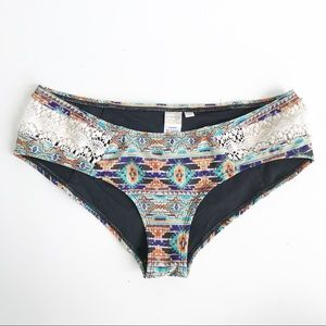 L*Space Tribal Full Cut Bikini Bottom Lace Panel